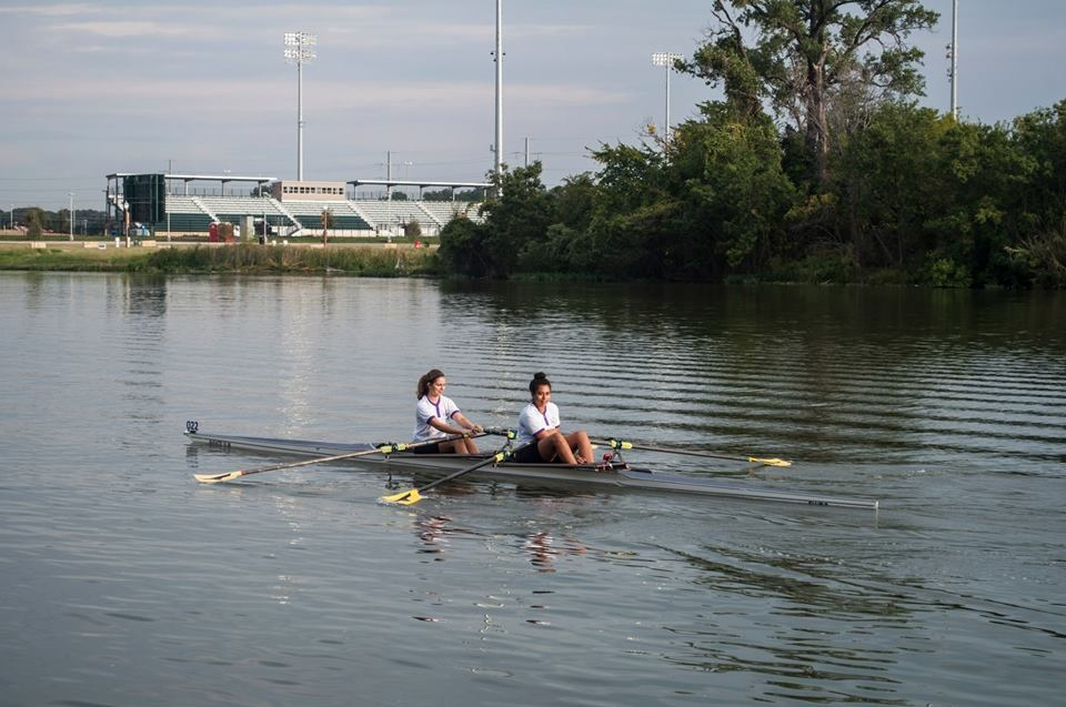 TCU Students Rachel Bynum and Abigail Rosario head to the start of the race in Waco, Texas.