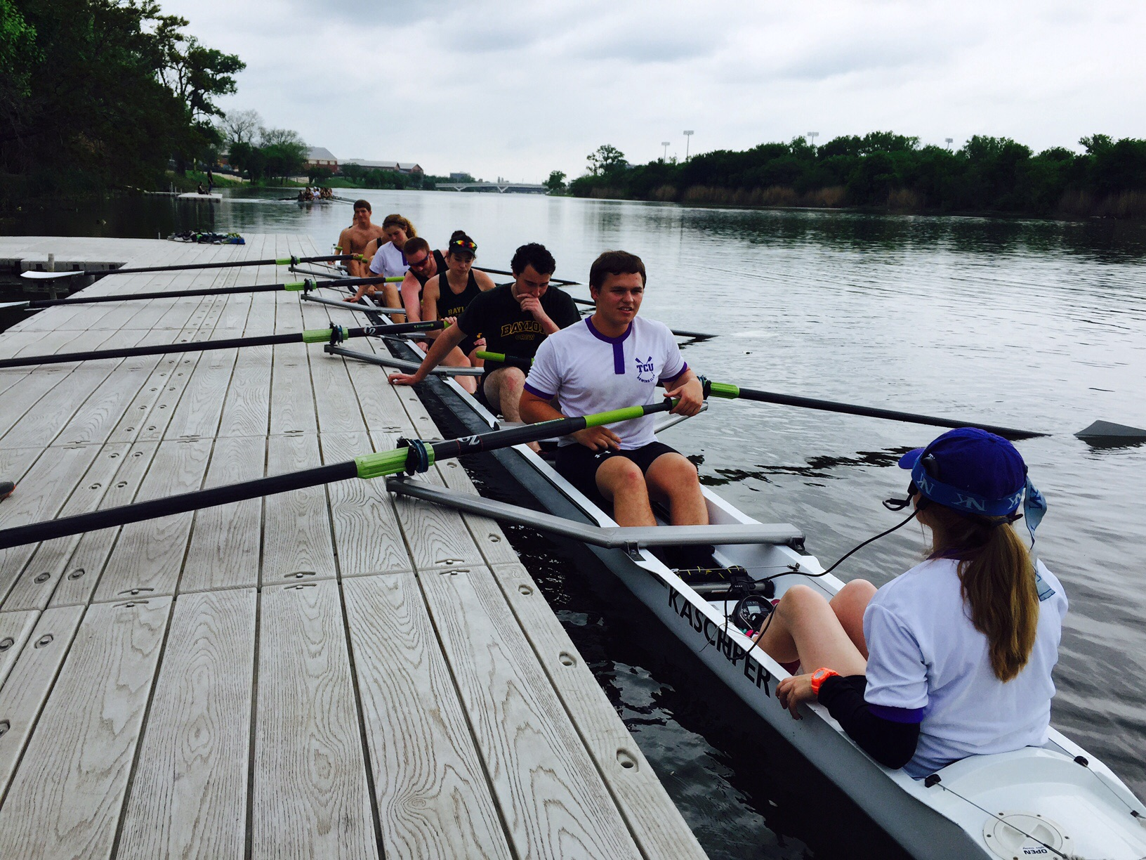 TCU & Baylor Mix crew heading out for an 8+ race